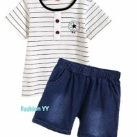 Setelan baju Anak laki-laki/kaos Jeans Bergaris/Baju anak cowok