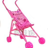 Mainan Anak - Stroller Bayi Dorongan Boneka Kereta Dorong Lipat Pink