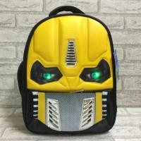 Tas ransel sekolah anak TK SD Transformers + lampu LED kuning