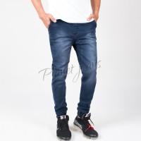 Celana Jogger Pants Bahan Jeans Model Chino / Joger Cowok Blue Wash 18