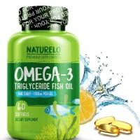NATURELO Premium Omega-3 Fish Oil 60c- 1100 mg Triglyceride Omega 3