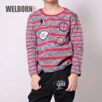 Welborn Kids Kaos Lengan Panjang Salur Merah Anak Laki