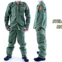 Baju seragam setelan linmas hansip keamanan topi baju celana atribut