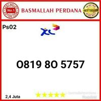 Nomor Cantik XL 10 Digit seri abab 5757 0819 80 5757 Ps02
