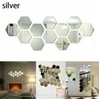S-Cermin / Kaca Hexagonal / Segi Enam / Hiasan Dinding -12pcs- Silver