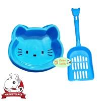 Cleine Tadita - 1 paket tempat makan kucing & Serokan pasir