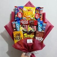 Snack Bouquet / Bucket Bunga Buket Snack Makanan/ Kado Hadiah Wisuda
