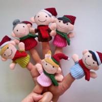 Set boneka jari natal keluarga / Xmas Christmas Family Finger Puppet