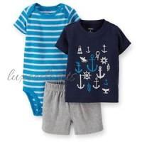 Carter ORIGINAL Baju Anak Bayi Setelan Jumper 1 Tahun Sailor Biru