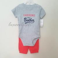 Carter ORIGINAL Baju Anak Bayi Setelan 1 Tahun Awesome Merah Abu