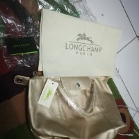 Tas Longchamp Le Pliage France Gold Platinum Leather