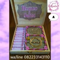 kotak box kayu rustic tempat perhiasan uang mahar hantaran seserahan