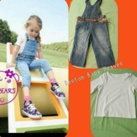 Best Seller Baju Anak Branded Import Fashion Girls 3In1 Overall Jeans