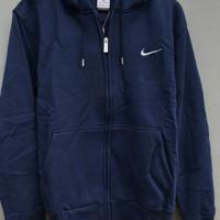 jaket jacket sweater nike hoodie basic classic zipper original - blue