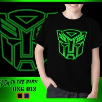 Baju Kaos Anak Superhero Transformers Optimus Glow in the dark - Size L, Hitam