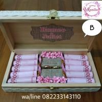 kotak bahan kayu rustic buat tempat uang mahar dan cincin pernikahan