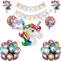Balon foil set happy birthday / paket ulang tahun unicorn rainbow