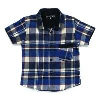 Hem kemeja baju flanel lengan pendek anak bayi 1-10 th biru