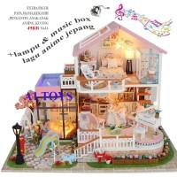 Dollhouse rumah rumahan miniatur DIY roleplay mainan edukasi SwW