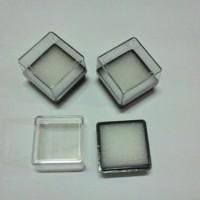 Kotak cincin batu permata segi empat transparan kubus