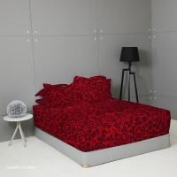 King Rabbit Seprai Size Queen 160x200 cm Motif Happy Floral Merah