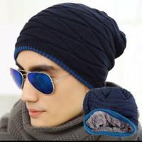 Topi kupluk rajut pria wanita winter musim dingin / topi kupluk winter - Navy