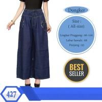 Celana Kulot Jeans Panjang List Motif