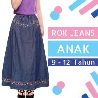 Rok Jeans Anak Perempuan Panjang Motif List Bunga Usia 9-12 Tahun