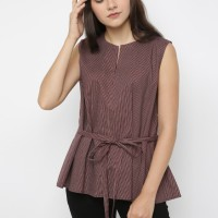 Mobile Power Ladies Striped Bow Tie Flare Blouse - Maroon JL211 - M