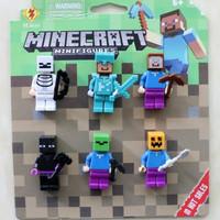 Mainan Anak Action Figure Minecraft Bahan Plastik PVC Untuk Koleksi