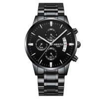 Jam Tangan Pria Original NIBOSI Chronograph 2309 Rantai Anti Air Black
