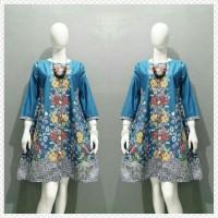 Tunik Batik Aira Biru Atasan Batik Wanita Tunik Kerja Batik