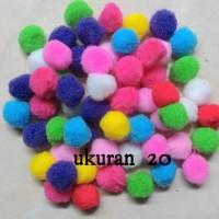 isi 50 pcs Pompom polos warna warni ukuran 2 cm