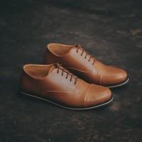 Tragen Ouda Brown - Sepatu Formal Oxford Pantofel Coklat Pria - Cokelat Muda, 41