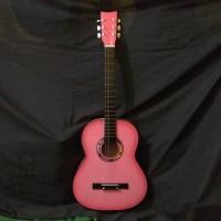Gitar Akustik Pemula Yamaha pink bulat