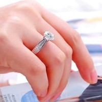 Cincin Pesta Korea Berlian Emas Imitasi Batu Zircon Warna Silver SH178 - Perak, 6