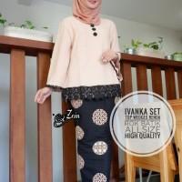 Batik Solo Ivanka Set Top Wedges Renda Cream Zein Batik Amanah