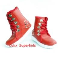 Sepatu Anak High Boots Merah Rock N Roll