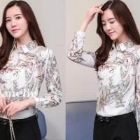 Baju Atasan Kerja Kemeja Lengan Putih White Blouse Korea Import Tunik
