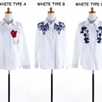 Baju Atasan Kemeja Kerja Putih Polos White Blouse Wanita Korea Import