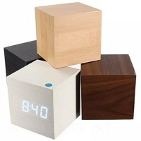 Jam Weker Kayu LED Clock Wood Premium Small