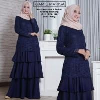 Baju Atasan Wanita Maxi Dress Baju Muslim Gamis Marisa Navy Tashi.342