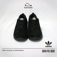 Sepatu Sekolah Hitam Sneakers Adidas Olahraga Running Wanita Pria