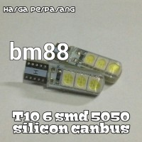 Lampu Led T10 6 SMD 5050 Silicon Canbus - [sepasang]