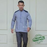 Kemeja Koko Casual baju Muslim Pria Kemko Premium Syakir Grey