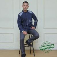 Kemeja Koko Casual Baju Muslim Pria Kemko premium syakir dark blue
