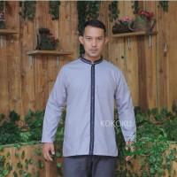 Kemeja Koko Casual Modern Baju Muslim Pria Syafiq Grey