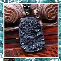 Kalung Liontin Naga Obsidian Hitam pria wanita