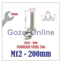 Baut Mur M12 x200mm Stainless Steel 316 - Baut Stenlis SUS316