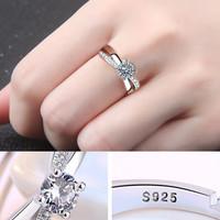 Cincin Berlian Lapis Emas Putih Imitasi Zircon Adjustable Size F9206